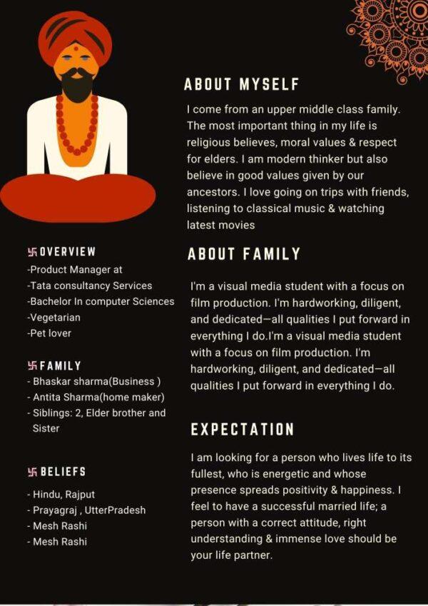 Hindu Marriage Biodata Attractive Black