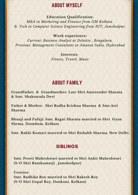 Hindu Biodata for marriage