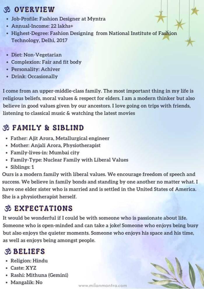 Marriage Biodata Premium design