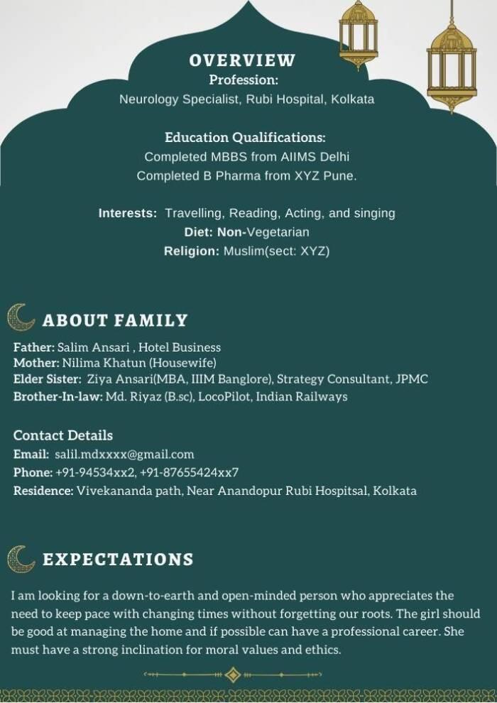 Muslim Marriage Biodata template