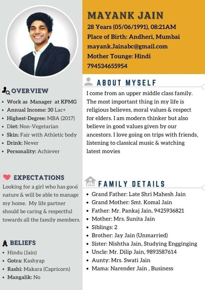 marriage biodata format